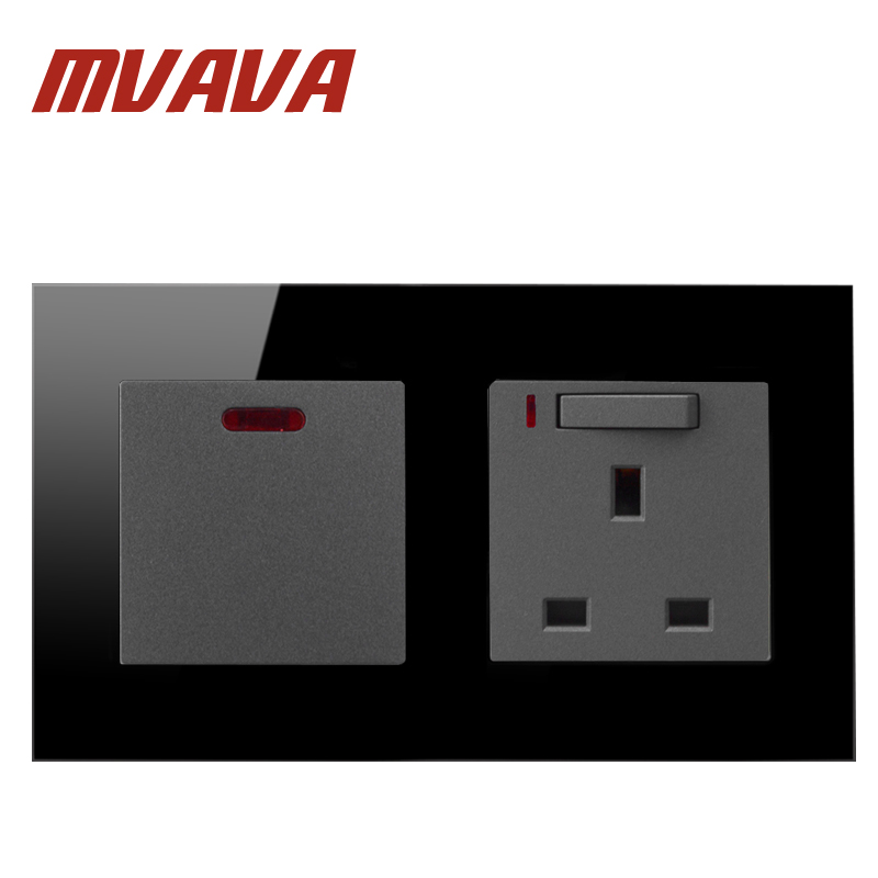 MVAVA Hot Sales 20A Switch With UK Socket Black Crystal Glass 146 * 86mm Dual Frame Button Light Switch Free Shipping 10a universal socket and 3 gang 1 way switch wallpad 146 86mm white crystal glass 3 push button switch and socket free shipping