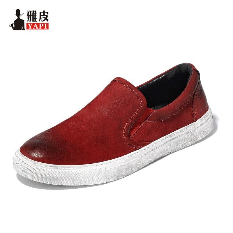 Ayakk.'ten Erkek Rahat Ayakkabılar'de 5 renk Üst Tam Tahıl Deri Erkek rahat ayakkabılar Üzerinde Kayma Sürüş Araba Loafer'lar Tembel Erkek Bot Ayakkabı'da  Grup 1