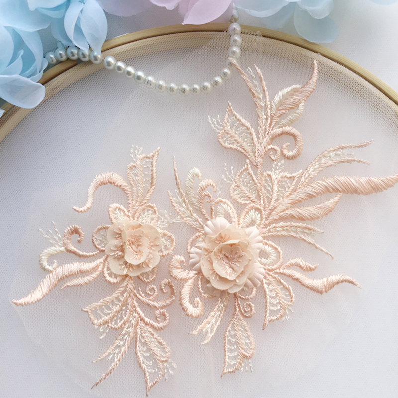 10 Pieces Beautiful 3D Flower Embroidery Neckline Lace Applique Trims Collar Sewing DIY Crafts Blue Dark Red Dark Golden Ivory in Lace from Home Garden