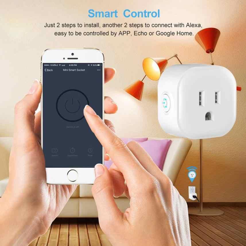 Gniazdo zasilania inteligentna wtyczka włączone Wi-Fi Mini gniazda inteligentne gniazdo sterowania urządzeń elektrycznych z dowolnego miejsca działa