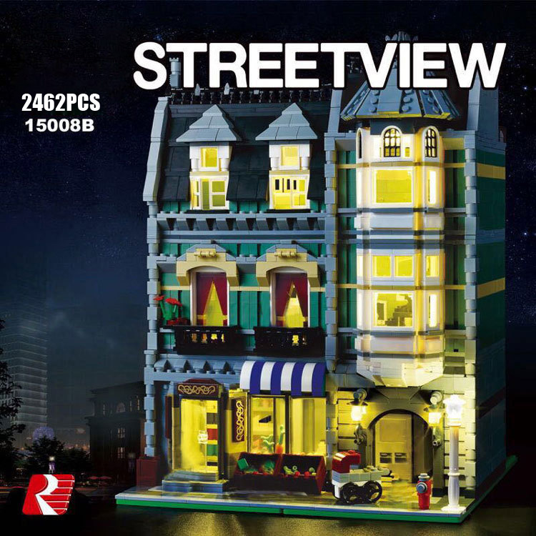 Classic creator city street view Green Grocer store building block with light gentleman figures bricks 10185 toys collection
