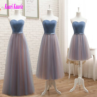 Elegant Multi Colors Bridesmaid Dresses 2018 New Bridesmaid Dress Long Sweetheart Tulle Pleat Lace Up women wedding Party Gowns