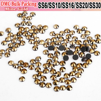 Bulk Packing Hotfix All Size Strass Crystals Hot Fix Rhinestones Motif Iron On Transfer Design Loose Rhinestones Mine Gold