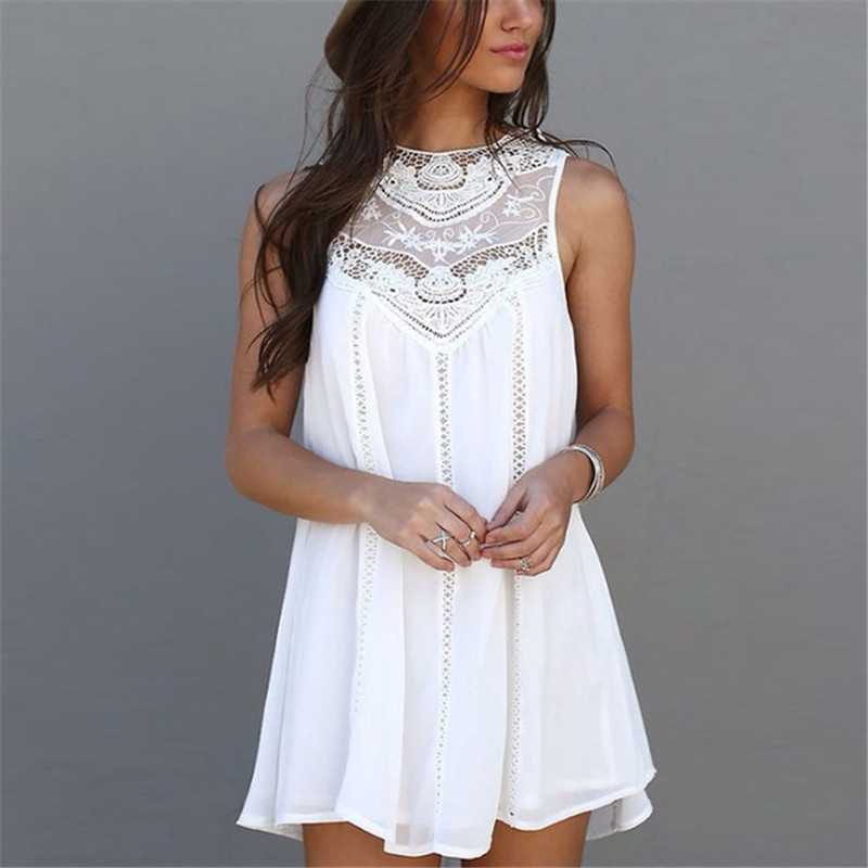 Fashion Lace Patchwork Women Summer Dress Vestidos Sexy Hollow Out Ladies Dresses Female Casual Sleeveless Tank Frocks YN3044