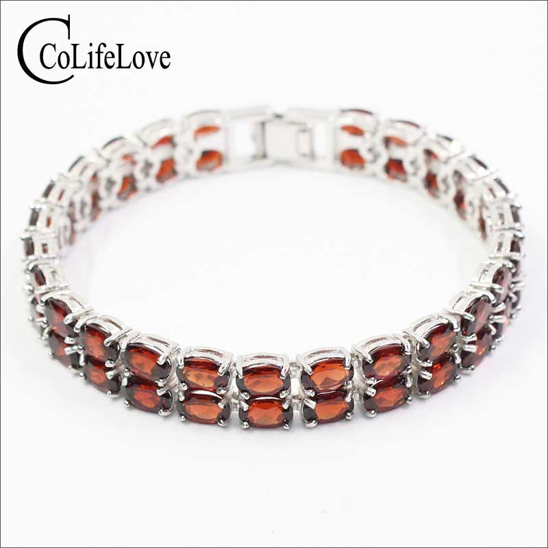 CoLife Jewelry double rows garnet bracelet 50PCS wine red natural garnet stone silver bracelet solid 925
