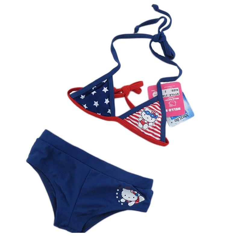 nuovo 2016 due pezzi dello swimwear delle ragazze ciao gattino del fumetto dei bambini costume da bagno per il bambino bambini c