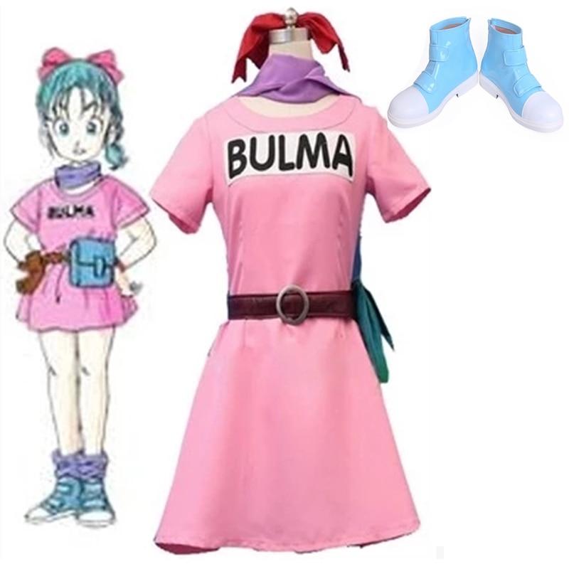 Adult Dragon Ball Z Bulma Cosplay Costume Summer Pink Dress  Women Halloween Bulma Cosplay Boots Blue Shoes Custom Made Any Size