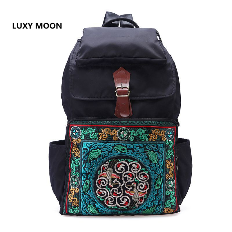 National Ethnic Nylon Backpacks for Women Fashion Large Capacity Travel Rucksack Vintage Boho Girls School Bags Embroidered cosmetics 27 био восстанавливающий крем eyes 27 для области вокруг глаз 15 мл