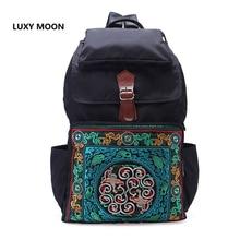 Nationalen Ethnischen Nylon Rucksäcke für Frauen Mode Große Kapazität Reise Rucksack Vintage Boho Mädchen Schule Taschen Bestickte
