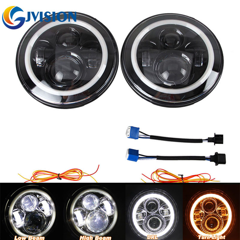 7 inch H4 H13 LED Projector headlight 7'' Halo White DRL Yellow & Amber angel eyes for Jeep Wrangler Unlimited jk 4 Door vosicky 7 inch led headlight halo drl