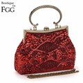 5 Colors Retro Ladies Cheongsam Match Women Red Satin Crystal Beaded Sequined Frame Evening Purse Wedding Bridal Handbag Bag