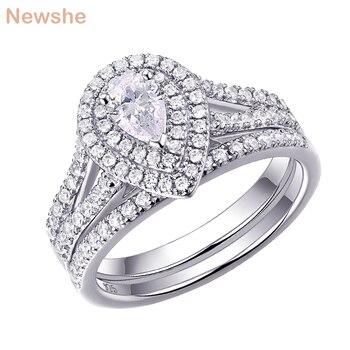 Newshe 2Pcs 결혼 반지 세트 여성을위한 고전적인 보석 배 모양 1.2 캐럿 AAA CZ 925 순은 약혼 반지 1R0004