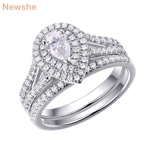 Image 1 - Newshe 2Pcs Wedding Ring Set Classic Jewelry Pear Shape 1.2 Carats AAA CZ 925 Sterling Silver Engagement Rings For Women 1R0004
