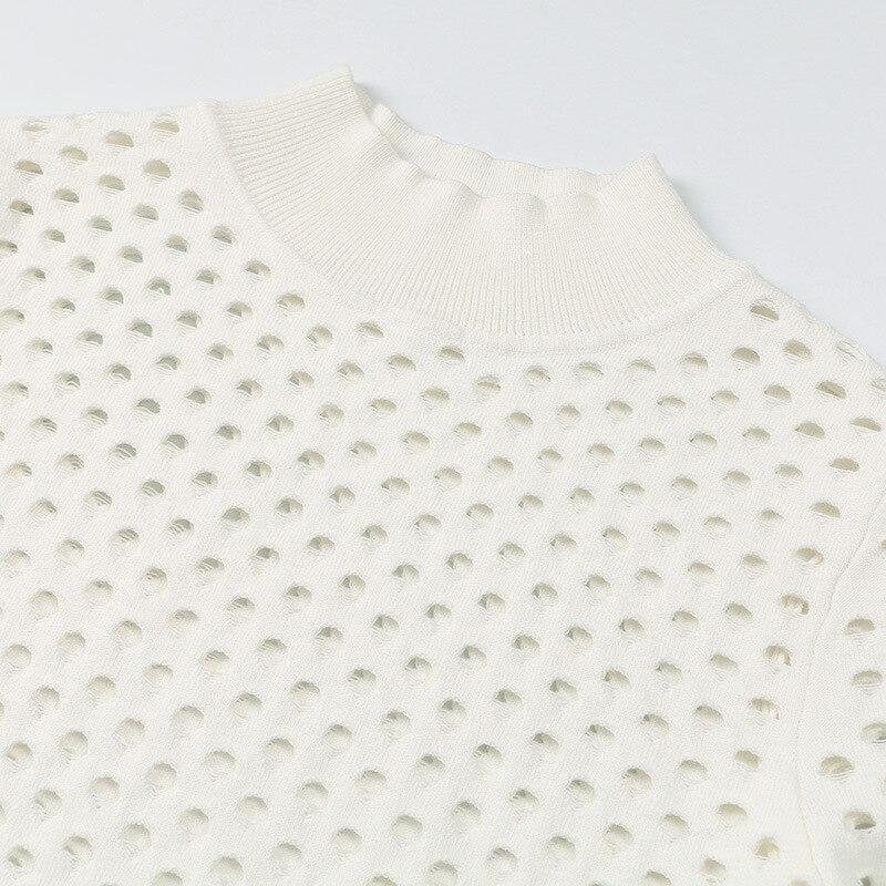 Évider Femmes Q465 Roulé Beige Solide Hauts Pull Moitié Qualité Pour Manches Printemps À Décontracté Col 2019 Slim Supérieure Longues Pulls AqAUZOz
