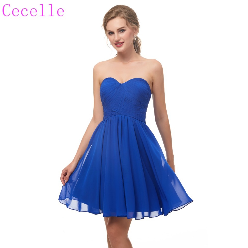 2019 Ruched Chiffon Royal Blue Short   Cocktail     Dress   Sweetheart Above Knee Teens   Cocktail   Party   Dress