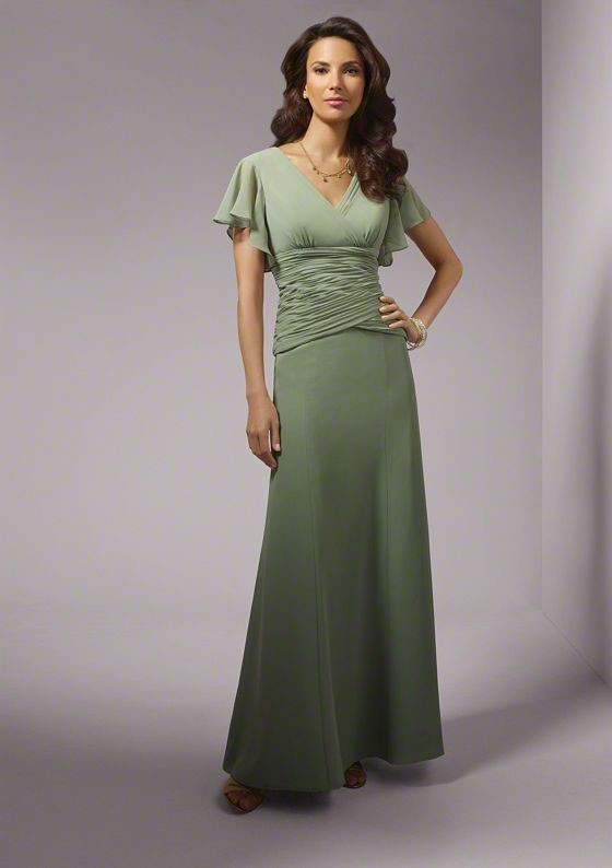 Sage Green Ruched Chiffon Trumpet Long Mother of the Bride Dresses Cap Sleeves V Neck mothers wedding dresses Evening Wear