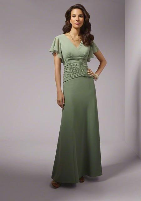 Sage Verde Chiffon Ruched Trumpet Longo Mãe da Noiva Vestidos Cap Mangas V Neck vestidos de casamento mães Desgaste da Noite