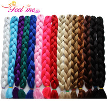 Feel Me Hair 48'' Jumbo Braids hair Synthetic Kanekalon Ombre Braiding Hair Extension 1pic/lot crochet Expression Fiber Blue 57g(China)