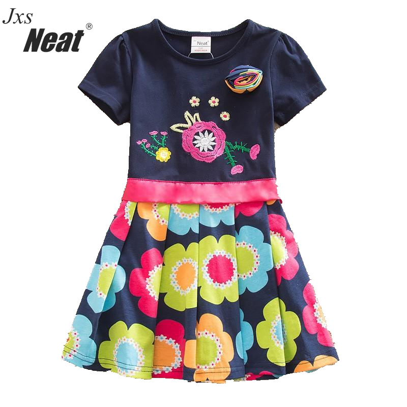 2016 Retail BABY Girl Clothes short Sleeve Girls Dress Bow  Kids pretty  Dresses Full A-line children clothing new style SH5868 цена