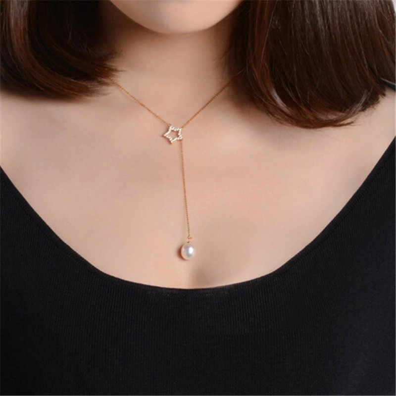 RUNZHUQIYUAN 2017 100% naturalna perła słodkowodna wisiorek urok naszyjnik w stylu gwiazdy 925 Sterling Silver biżuteria dla kobiet prezent