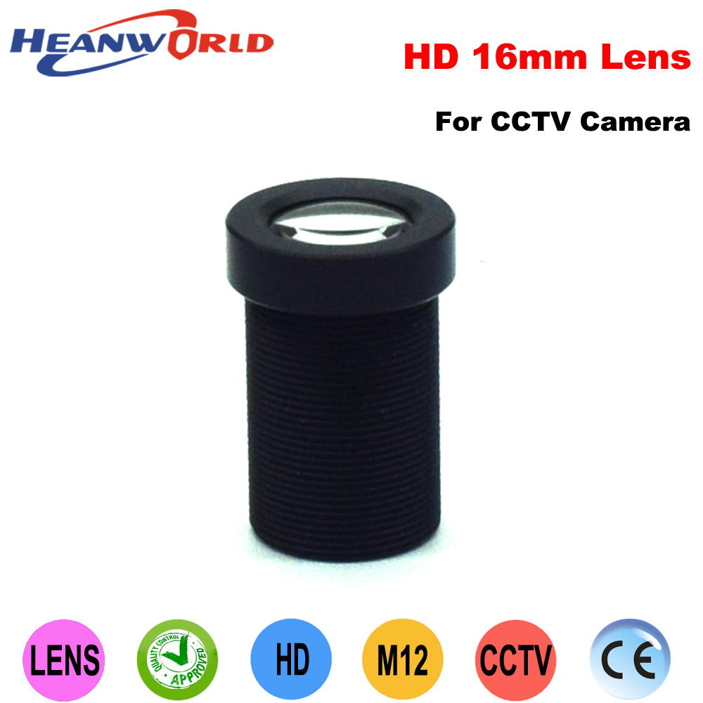 Heanworld 16mm CCTV camera lens IR lens M12 Fix lens for CCTV security camera system install CCD CMOS IP camera system aomway universal cmos ccd m12 camera fixed mount for fpv
