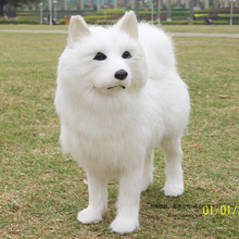 Dog-Toy Standing-Samoyeds Simulation 24x8x20cm Fabric Bigger About Genuine-Leather