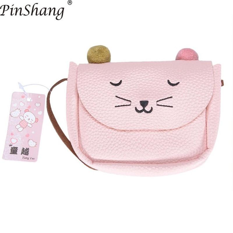 Детская сумка через плечо, маленькая сумка-мессенджер с кошачьими ушками, простая маленькая квадратная сумка для детей, универсальная Сумочка для монет, милые сумочки для принцесс - Цвет: Tender pink
