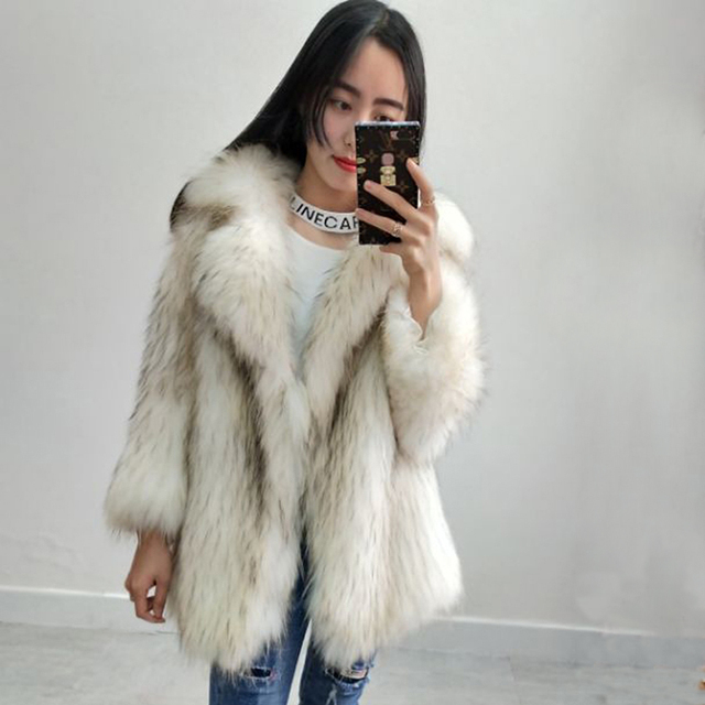 New Winter Real Raccoon Dog Fur Woven Real Fur Jacket Women Long Lapel  female Fur Coat