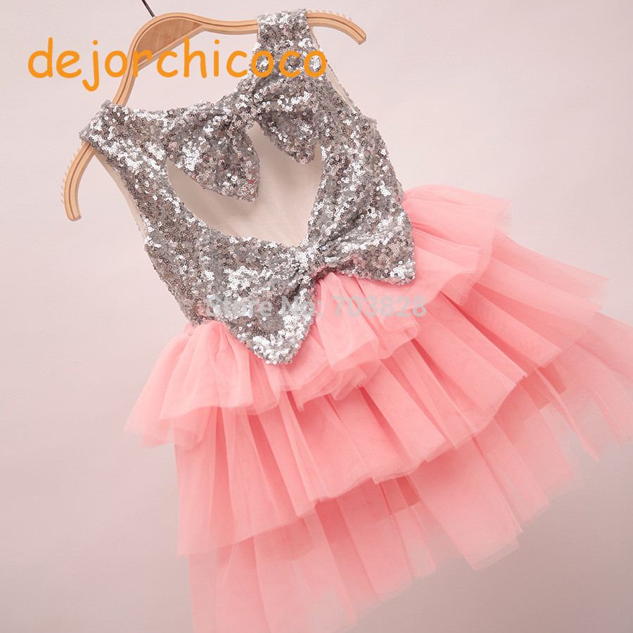 Buy Cheap Sleeveless bows Baby girls summer sequined tutu ball gowns wedding dress children's summer sequin party dress wear[dejorchicoco]
