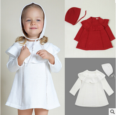 European style INS Girl Princess Sweater Dress Wool Knitted High Quality Cute White Baby Dress with