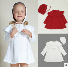 European style INS Girl Princess Sweater Dress Wool Knitted High Quality Cute White Baby with Cap Kids Dresses for Girls
