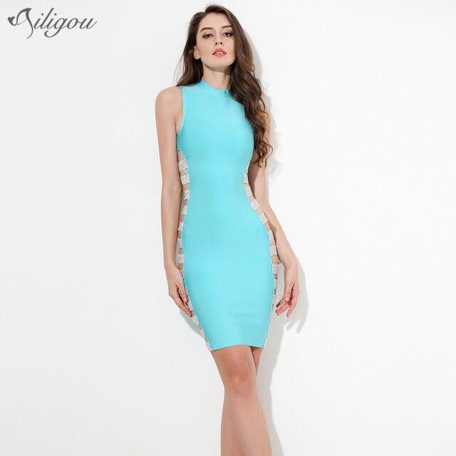 269616650fc0 Ailigou 2017 Summer Bandage Dress Women Celebrity Party sky blue diamonds  hollow out Dress Bodycon dresses vestidos Wholesale
