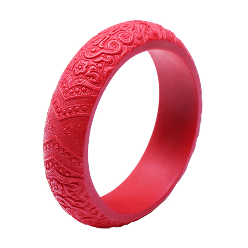 KYSZDL Natural red cinnabar carved flower Bangles Women wealth auspicious cinnabar bracelet jewelry free shipping