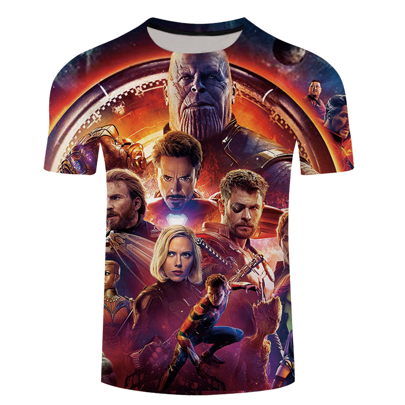 2018 3D T-shirt Men Avengers Infinity War 3D Print Short Sleeve Tee Shirt Top Streetwear Fitness Large Size 5XL