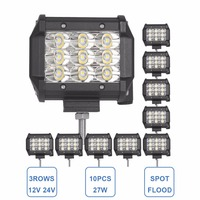 10x 27W Offroad LED Work Light 3 ROW 12V 24V SUV Auto Car Truck ATV 4X4