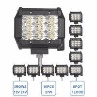10x 27W Offroad LED Work Light 3 ROW 12V 24V SUV Auto Car Truck ATV 4X4