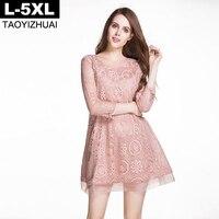 Pink Color Women Dress Autumn O Neck Button Closure 3/4 sleeve A-line Lace Dress L XL XXL XXXL 4XL 5XL Plus Size Loose Vestidos
