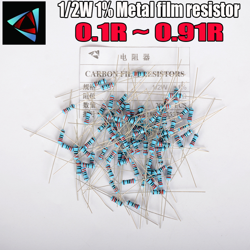 50pcs 1/2W Metal Film <font><b>Resistor</b></font> +-1% 0.1 0.12 0.15 0.18 0.2 0.22 0.24 0.27 <font><b>0.3</b></font> 0.33 0.39 0.47 0.5 0.56 0.62 0.68 0.75 0.82 <font><b>ohm</b></font> image