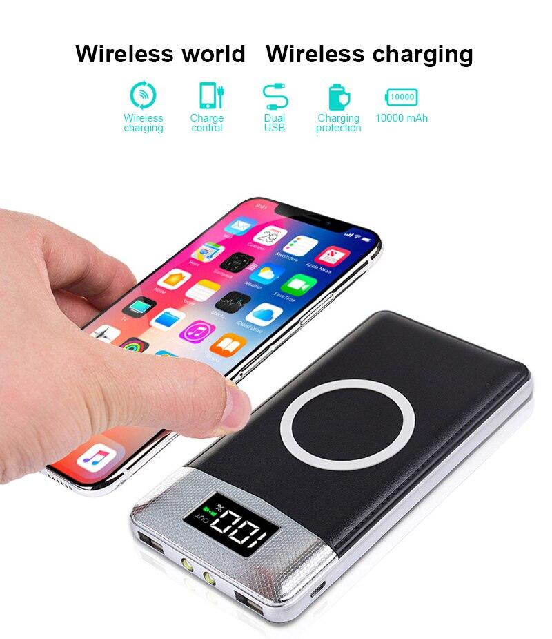 Qi Caricatore Senza Fili 10000 mah Accumulatori e caricabatterie di riserva Per iPhone X 8 Più di Samsung Nota 8 S9 S8 Più S7 Powerbank Mobile caricatore Senza Fili del telefono