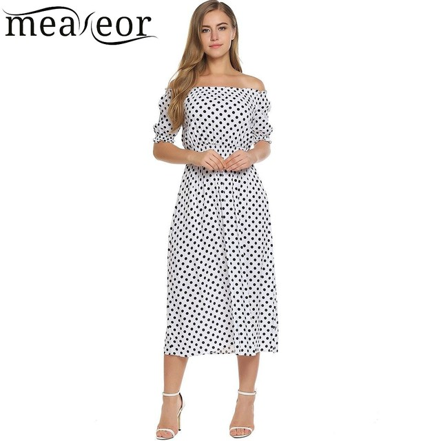 13ac492b2070 Meaneor Party Long Dress Women s Off Shoulder Half Sleeve Polka Dot Dresses  Slash Neck Pleated Female Summer Dress Vestidos