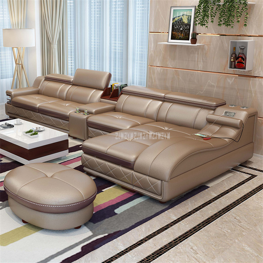 4 Seat Leather Living Room Sofa Set With Massage Function Rotating Chair Home Furniture Modern Frame Soft Sponge L Shape image