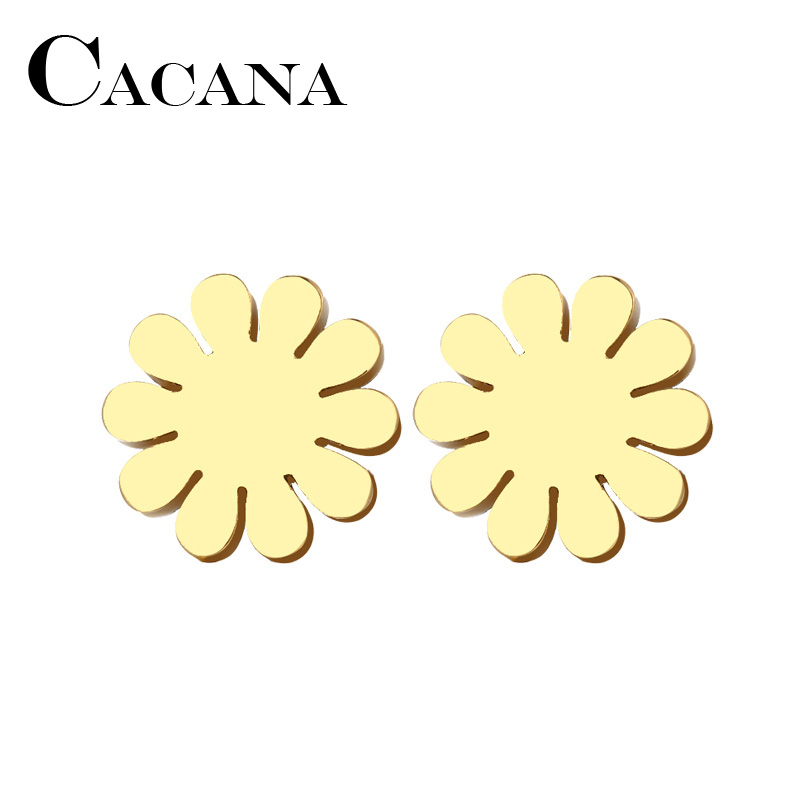 CACANA Stainless Steel Stud Earring For Women Man Sunflower Gold And Silver Color Lovers Engagement Jewelry Drop Shipping