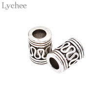 Lychee 2 Piece Vintage Viking Beads Ripple Hollow Flower Gold Color for Bracelet Necklace Pendant DIY Jewelry Making Accessories
