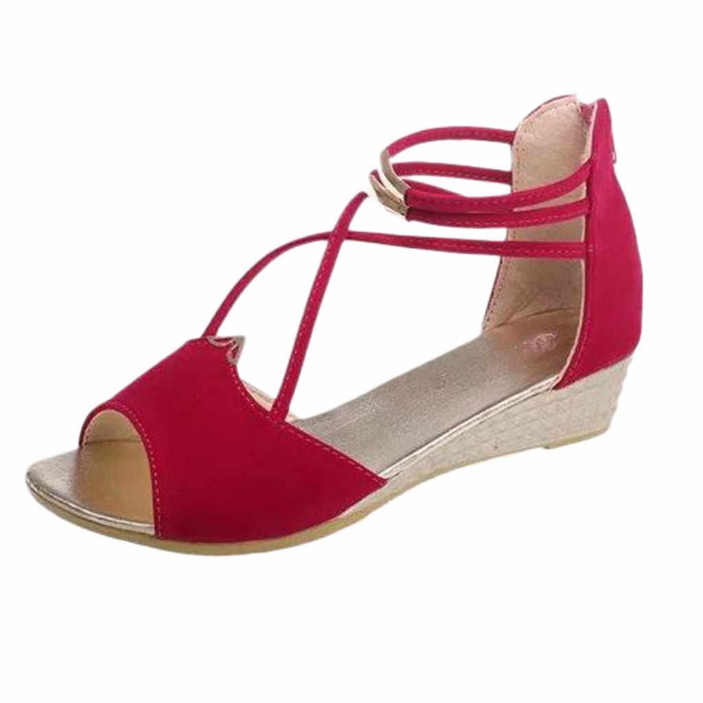 Sagace Nhỏ Cho Nữ Da Lộn Nêm Cá Miệng Túi Đeo Chéo Sandal La Mã Giày Cổ Ren Định Peep Toe Gót Vuông Du Lịch 17 Tháng 5