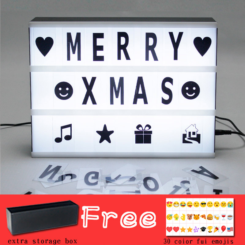 Hot sell LED A4 Cinematic light Box with stroage box diy Letters symbols emojis for shop & home decor ...
