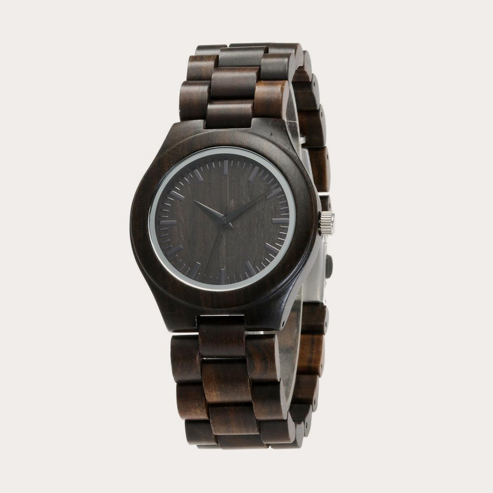 REDEAR Handmade Black Sandalwood Watches Lover's Watches Cool Nature Wood Quartz Automatic Watch in Gift Box