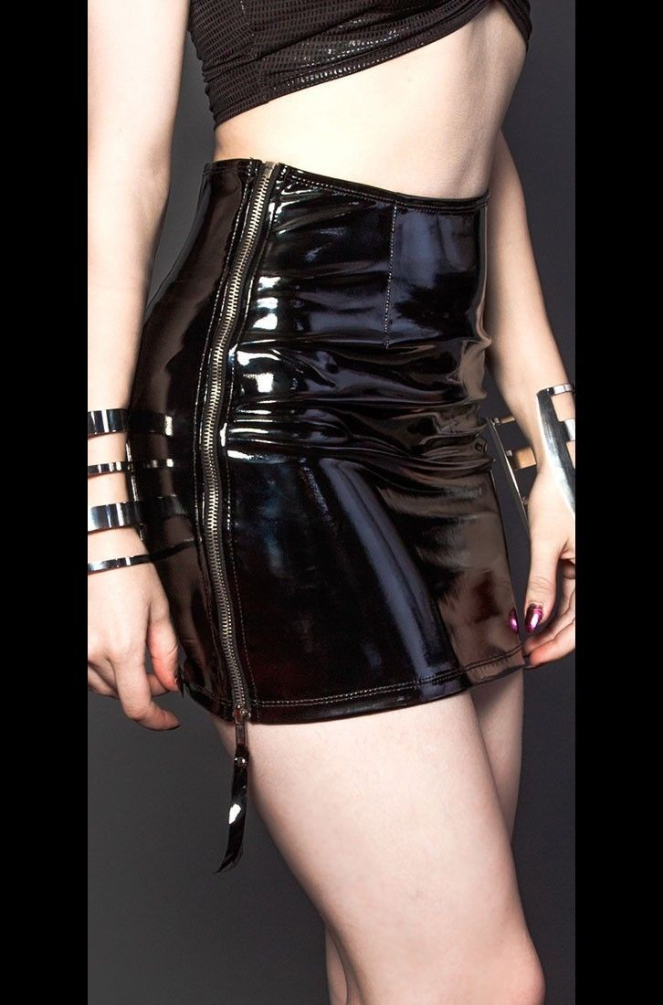 S-XXL Womens Slim Black PVC Latex Skirt Sexy Side Zipper Pencil Skirts Shiny Wet Look Leather Skirt Bodycon Mini Skirt