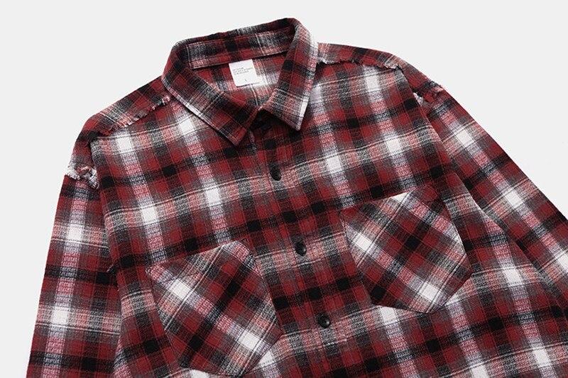 Femmes Kanye De Dieu Peur rouge Bieber Streetwear Manches La Harajuku Marron Taille Hommes Chemise Justin Grande West Longues Plaid À Chemises Casual 18ss n5xtqB8