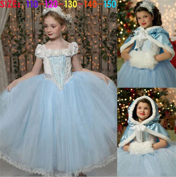 Elsa Kids Girls Princess Dresses Cosplay Costume Elsa Princess Party Gift Fancy Dress + Cape