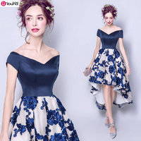 New Arrival Personality Fashion V Neck Front Short Long Back Homecoming Dress Pretty Blue Party Dress